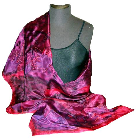 Red Maple Leaf Hand Painted Silk Shawl