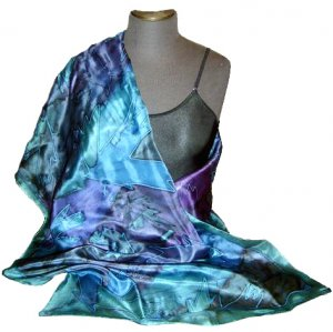 Teal Maple Hand Painted Silk Shawl