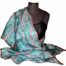 Soft Blue Hand Painted Silk Jacquard Shawl