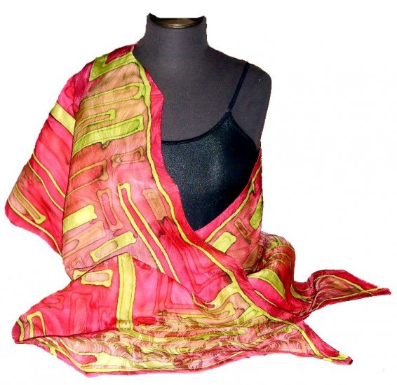 Magenta Hand Painted Silk Shawl