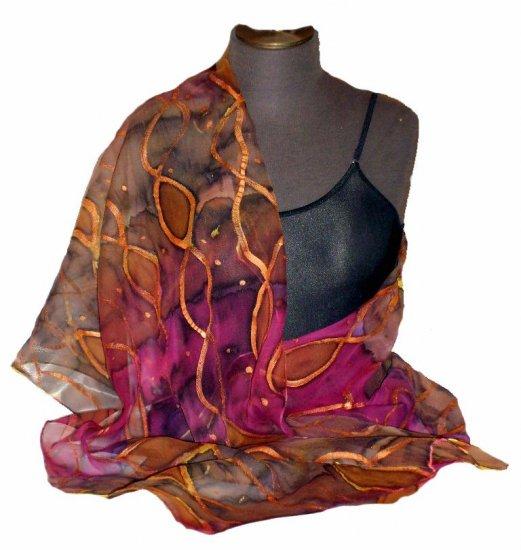 Gold Chiffon Hand Painted Silk Wrap