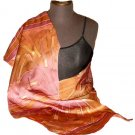 Wine Silk Hand Painted  Silk Shawl