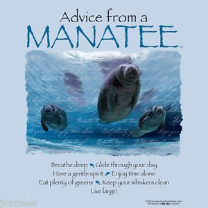 Advice From Manatee T shirt Endangered Florida Water Unisex S M L XL 2XL NWT NEW