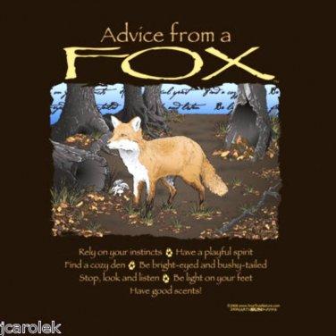 Advice From Fox Gildan Brown T-shirt Unisex S-M-L-XL-2XL NWT Cotton EarthSunMoon
