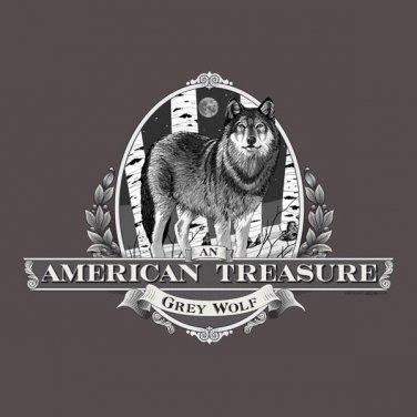 American Treasure Grey Wolf T-shirt Unisex S-M-L-XL-2XL NWT Gildan Cotton Tee
