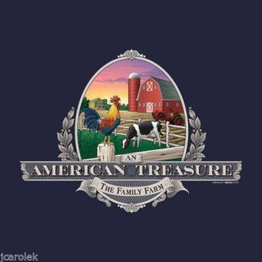 American Treasure Family Farm T-shirt Unisex S M L XL 2XL NWT Gildan Cotton Navy