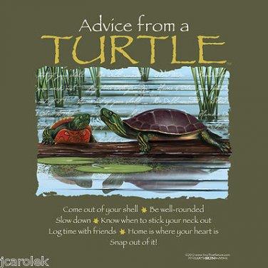 Turtle Tshirt Unisex S-M-L-XL-2XL NWT Tortoise Forest Fun Advice Earth Sun Moon