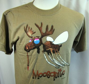 Camping T shirt Mosquito Moosquito Earth Sun Moon 2XL Nature Gildan Cotton NWT