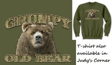 Bear Sweatshirt Unisex Humor New Over the Hill Grumpy Old Bear NWT Adult Sizes