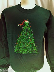 Christmas Sweatshirt Unisex Green Frog Tree Small Cotton Blend Long Sleeve Crew