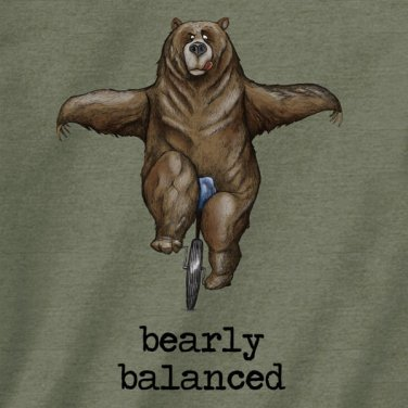 Bearly Balanced Bear Unicyle T shirt Unisex S M L XL 2XL New NWT Cotton Gildan