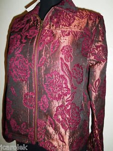 Floral Jacket Reversible Ladies Coldwater Creek NWT New XS Jeans Gold Burgundy