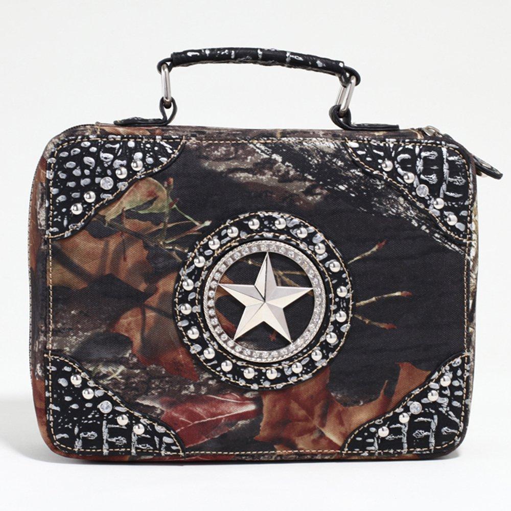 Mossy Oak Studded Camouflage Travel Bag w/ Rhinestone Star & Croco Trim - Camo/Silver