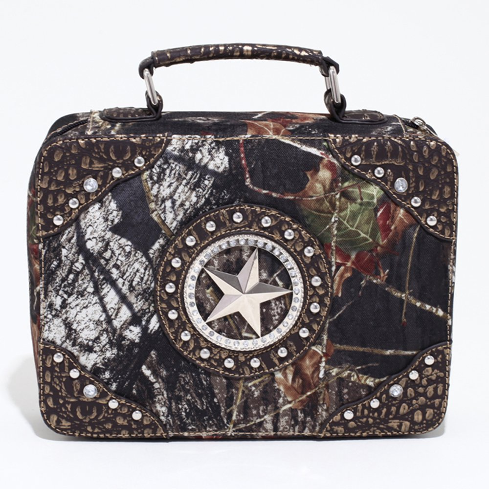Mossy Oak Studded Camouflage Travel Bag w/ Rhinestone Star & Croco Trim - Camo/Gold