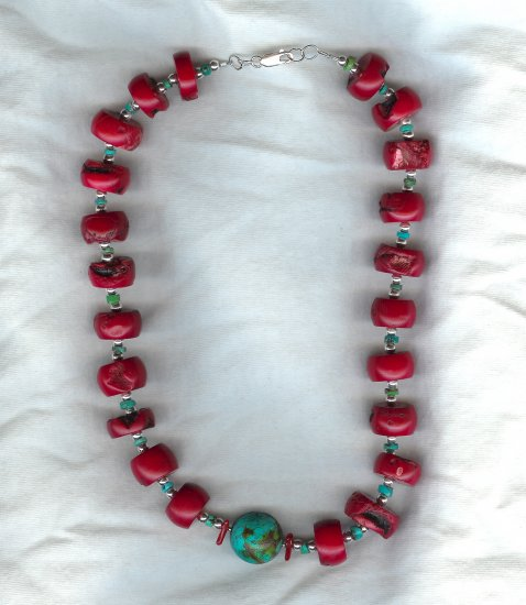 Coral Disks and Turquoise Necklace
