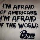 "David Bowie ""Afraid of Americans"" Tote Bag / 90s 80s Hipster Vinyl T-shirt NEW"