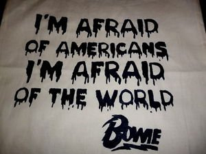 """David Bowie """"Afraid of Americans"""" Tote Bag / 90s 80s Hipster Vinyl T-shirt NEW"""