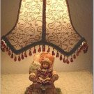 Victorian Doll In Chair Lamp and Vintage Lace Lampshade