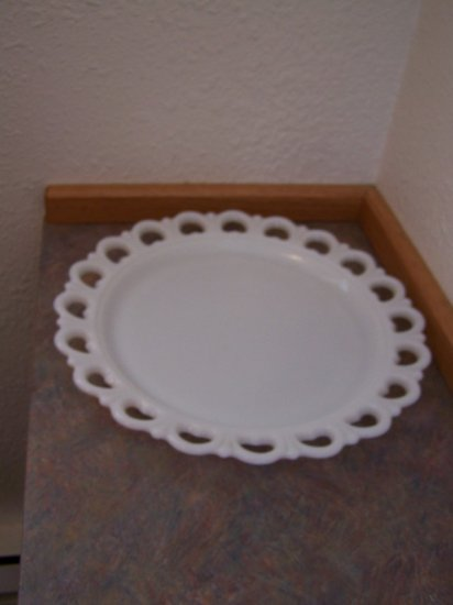 "Heavy White Milk Glass Giant Platter 13"" Round"