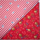 Red Floral Gingham n Red Print - Two FAT Quarters (2735)