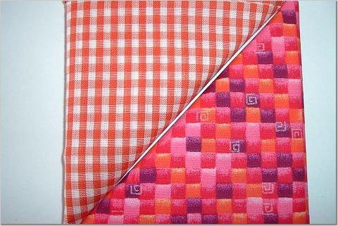 Orange Gingham n Orange/Pink Print - Two FAT Quarters (2737)