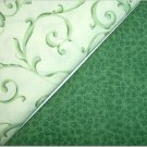 Mint Green Swirls n Forest GreenPrint - Two FAT Quarters (2741)