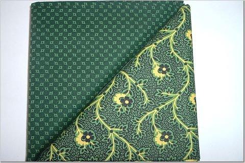 Dark Green Print w/ Dark Green & Yellow - Two FAT Quarters (2745)
