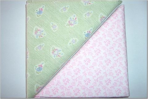 Baby Pink Floral n Foam Green Print - Two FAT Quarters (2749)