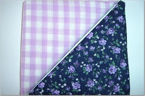Lavendar Gingham n Black w/Purple Floral Print - Two FAT Quarters (2751)