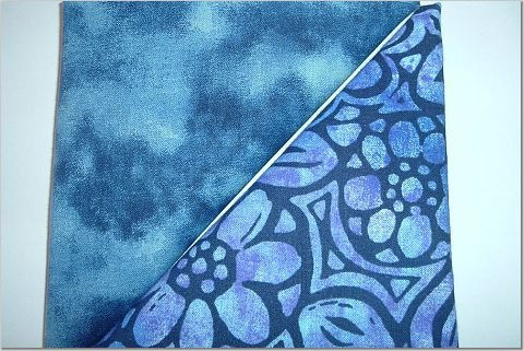 Stained Glass Blue Floral n Evening Sky Blue Print - Two FAT Quarters (2752)