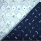 Baby Blue Floral Diamonda n Navy Blue Print - Two FAT Quarters (2753)