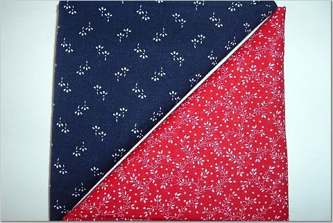 Red n Navy Print - Two FAT Quarters (2755)