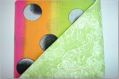 Lime Green n Neon Rainbow Print - Two FAT Quarters (2756)
