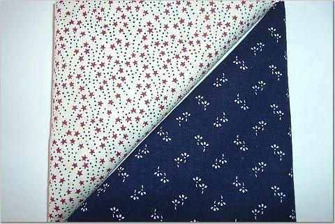 Burgandy Stars w/Navy Dots n Navy Print - Two FAT Quarters (2757)