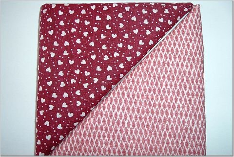 Hearts on Burgandy w/Dots n Brick Print - Two FAT Quarters (2765)