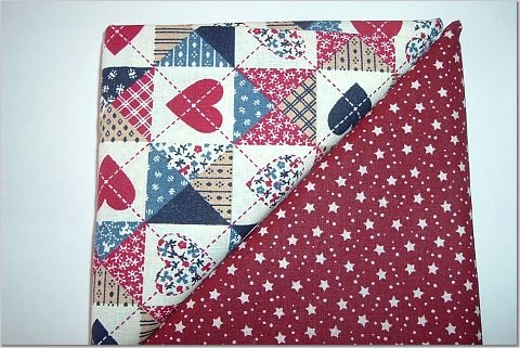 Heart Patchwork Print n Burgandy w/Stars-Dots - Two FAT Quarters (2766)