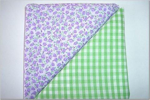 Green Gingham n Lavendar Floral Print - Two FAT Quarters (2771)