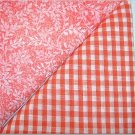 Orange Gingham n Orange Leaf Print - Two FAT Quarters (2774)