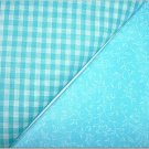 Turqoise Gingham n Turqoise Print - Two FAT Quarters (2775)