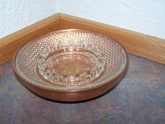 Vintage Copper n' Glass Ashtray