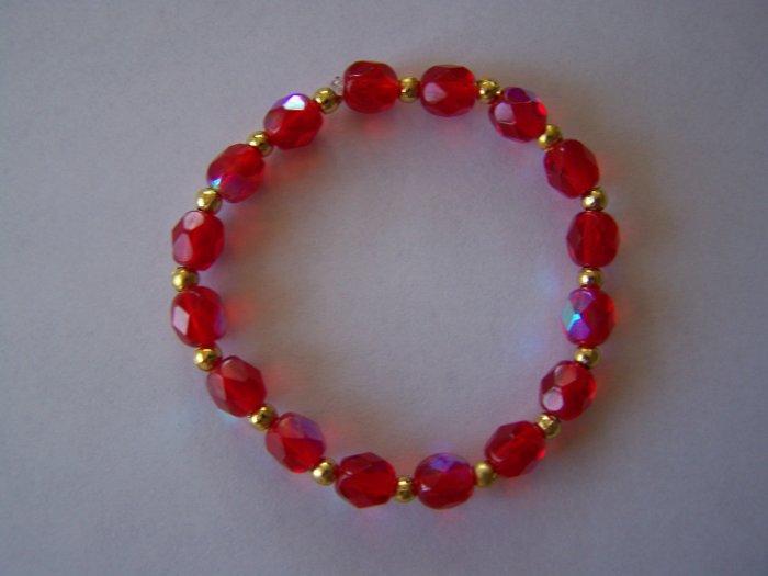 Red Opal n' Gold Dot Bracelet (MLJ-994)