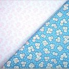 Blue Floral n' Pink Print - TWO Fat Quarters (2777)