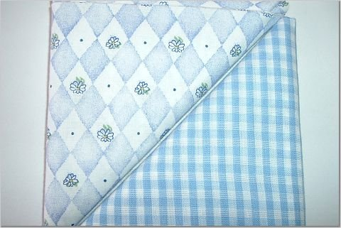 Baby Blue Gingham n' Blue Diamond Print - Two FAT Quarters (2778)