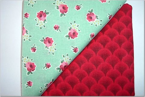 Aqua with Red Roses n' Red Print - TWO Fat Quarters (2779)