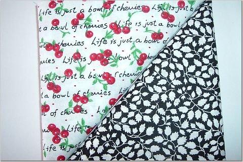 Black/White Leaves n' Red Cherries Print - Two FAT Quarters (2786)