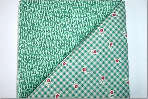 Country Green Gingham w/Flowers n' Green Print - TWO Fat Quarters (2788)