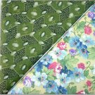 Floral Bouquet on Yellow n' Avocado Jewels - TWO Fat Quarters (2792)