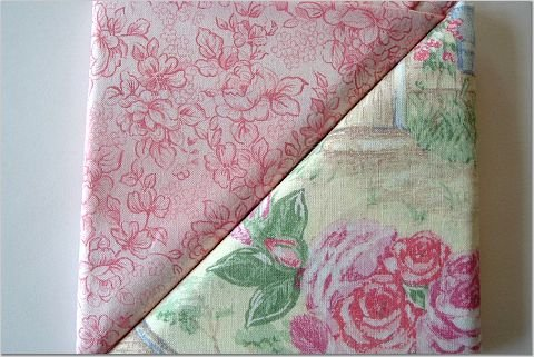 Pink Cabbage Rose n' Pink Floral Print - TWO Fat Quarters (2794)