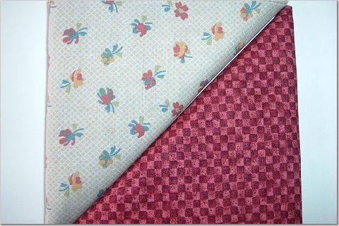 Autumn Country Floral n' Brick Red Print - TWO Fat Quarters (2798)