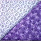 Purple Leaf Print n' Purple Floral - TWO Fat Quarters (2799)